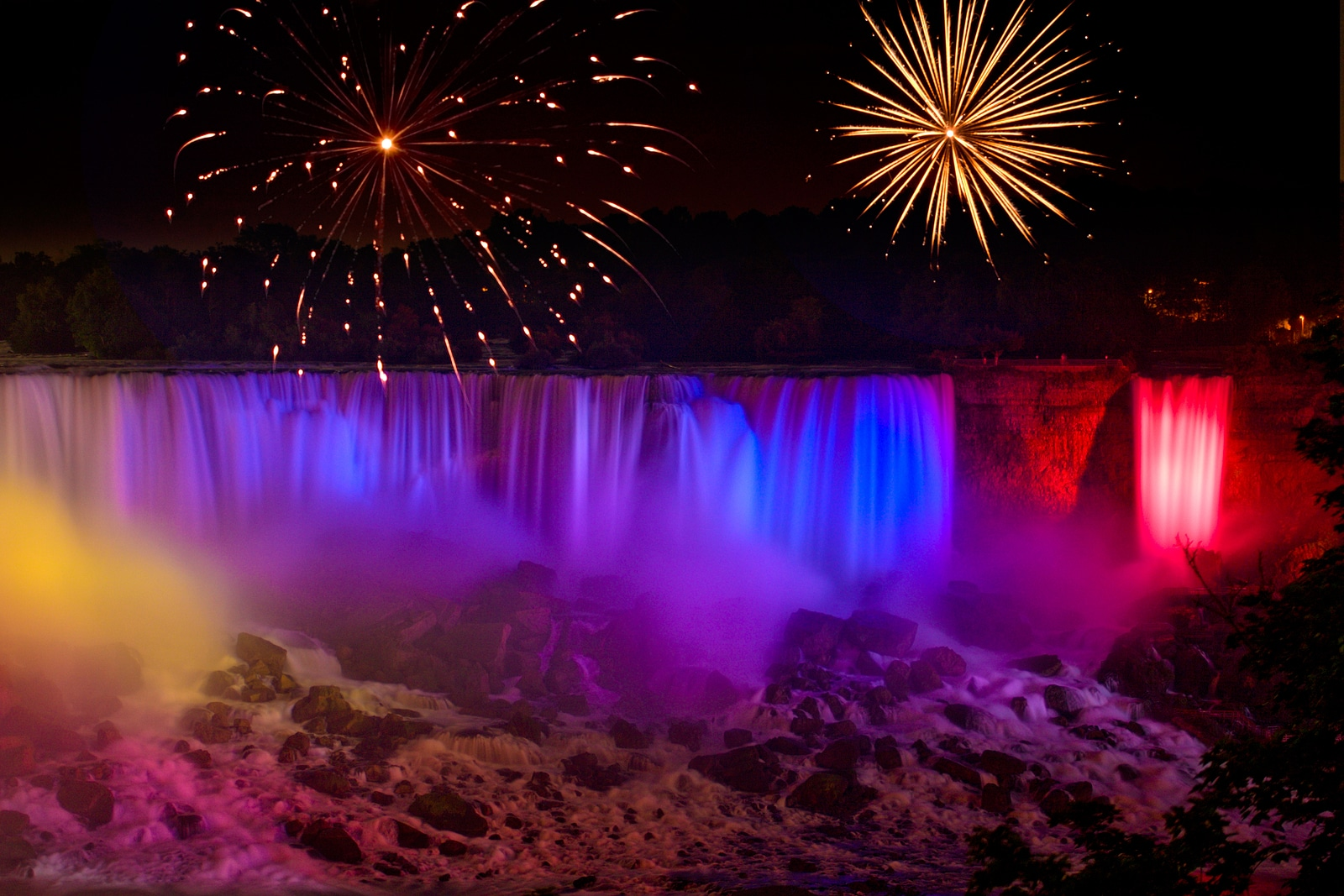 Rainbow colored Niagara Falls