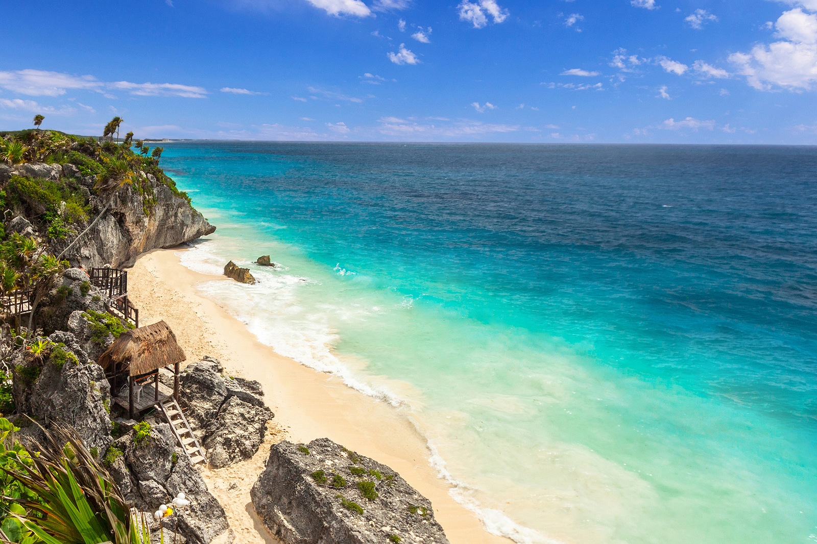 Beautiful Tulum beach at Caribbean sea, Mexico via Booking Express Travel